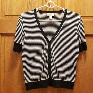 3 for $25 ❤  Loft MP blue & white striped cardigan